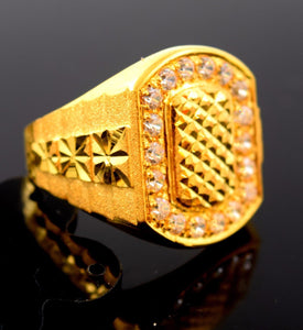 "22k Solid Gold ELEGANT MENS Ring Exquisite Design ""RESIZABLE"" R519 