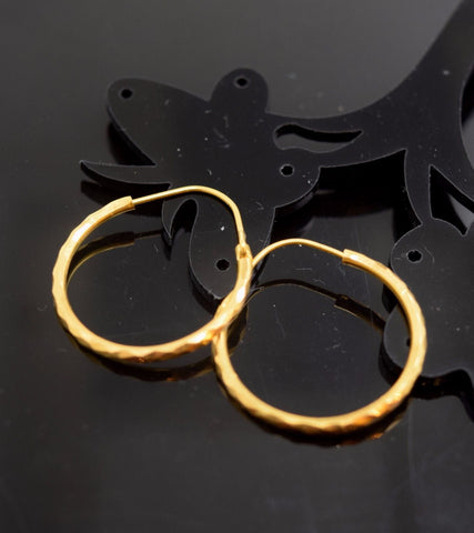 22k Solid Gold ELEGANT LARGE HOOP EARRINGS MODERN DESIGN e803