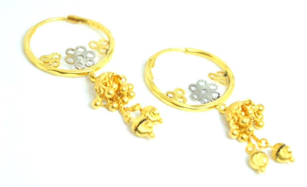 22k Solid gold ELEGANT Hook LONG EARRINGS HANGING Flower Design E316 | Royal Dubai Jewellers