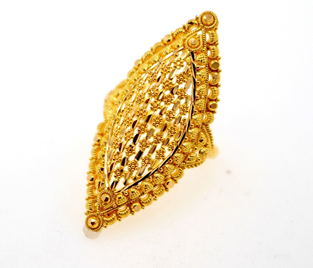 22k 22ct Solid Gold DIAMOND CUT ANTIQUE LADIES RING SIZE 8' RESIZABLE