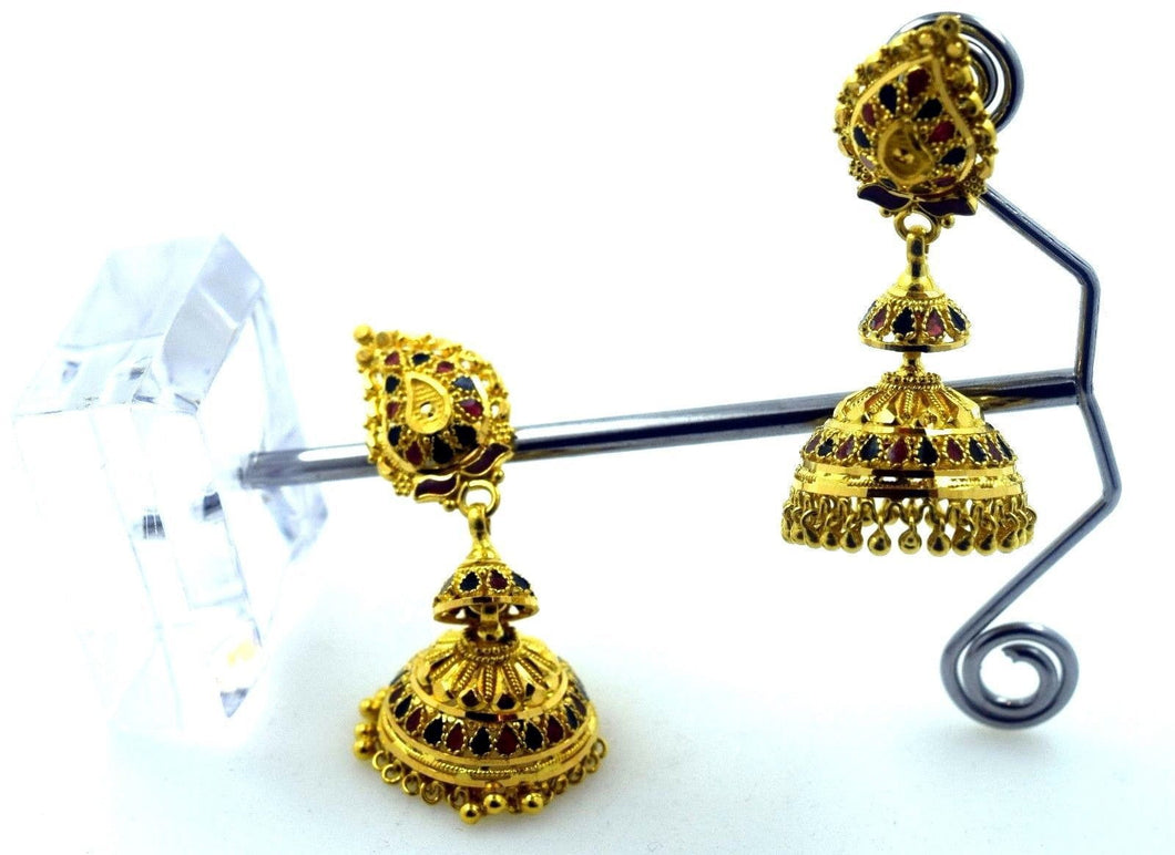 22k Solid Gold ELEGANT LONG JHUMKE EARRINGS HANGINGS Classic Design E574 | Royal Dubai Jewellers