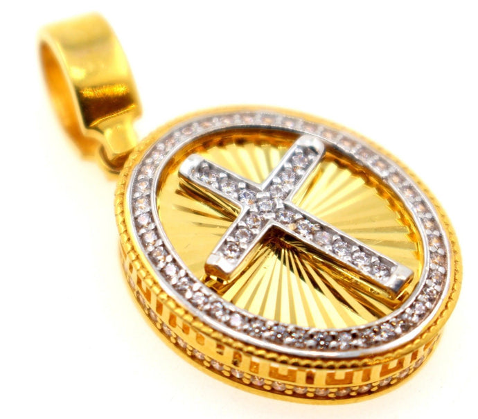 21k 21ct Solid Gold Cross Designer Christian Religious Zirconia Pendent P1315