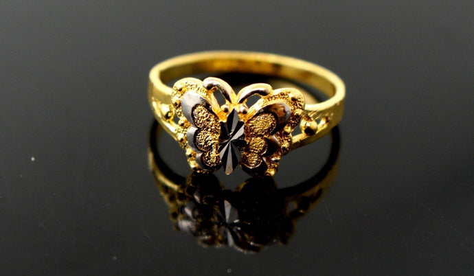 22k 22ct Solid Gold Ladies Ring Butterfly Design SIZE 6.0