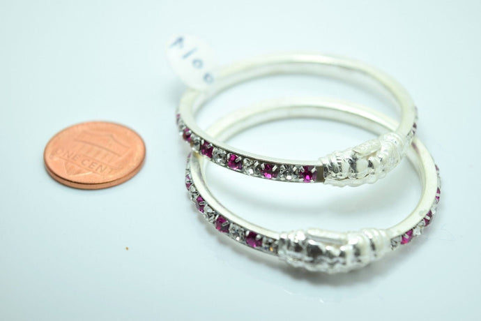 2PC HANDMADE Baby Solid Silver Bracelet 925 sb19 Sterling Children Bangle Cuff