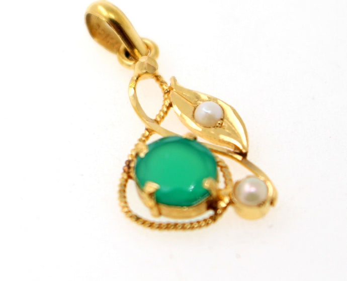 22k 22ct Solid Gold ELEGANT EMERALD PEARL STONES LOCKET Pendant P1351