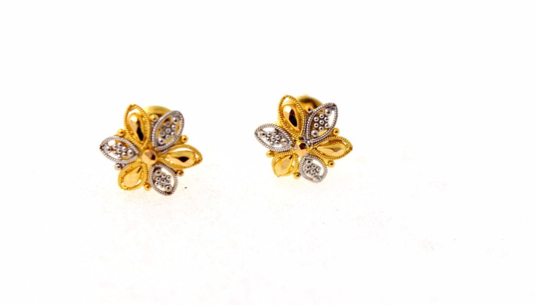 22k 22ct Solid Gold ELEGANT Charm Earring Unique Floral Round Design e5202
