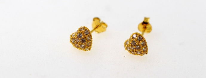 22k 22ct Solid Gold ELEGANT SMALL heart shape baby Earrings studse5868