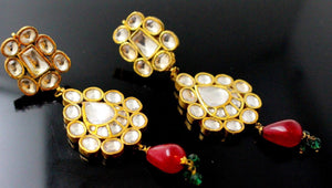 22k 22ct Solid Gold ELEGANT EARRING KUNDAN RUBY STONE Floral Dangle Design E5579