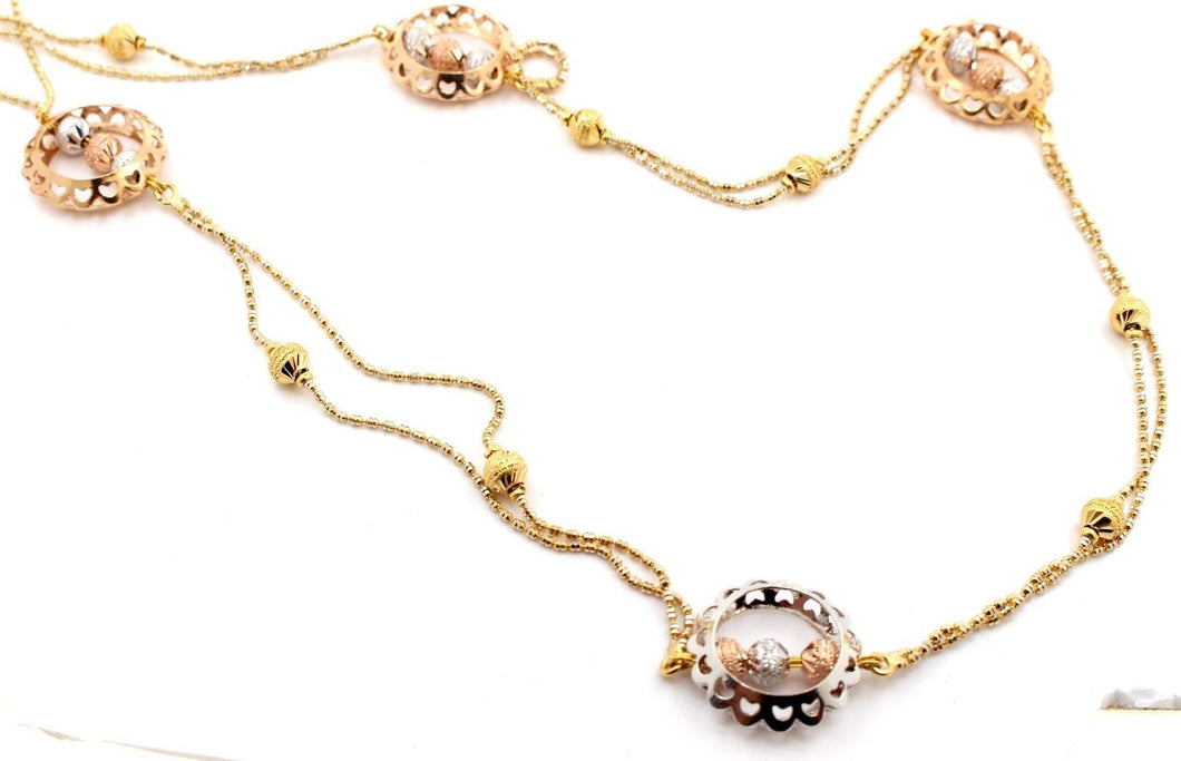 22k 22ct Yellow Solid ROSE GOLD FANCY Necklace RHODIUM Ball CHAIN 25inch c741 | Royal Dubai Jewellers