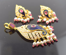 22k Solid Gold ELEGANT PEARL ENAMEL Pendant Set Natural Stone S43 | Royal Dubai Jewellers