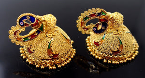 22k 22ct Solid Gold ELEGANT PEACOCK ENAMEL LONG JHUMKE DANGLING Earring e5098