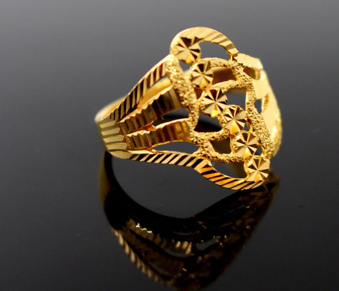 22k Solid Gold DESIGNER DIAMOND CUT LADIES RING SIZE 8