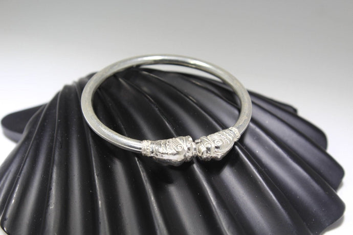 1PC HANDMADE women b54 Solid Sterling Silver 925 size 2.25 inch kara Bangle Cuff