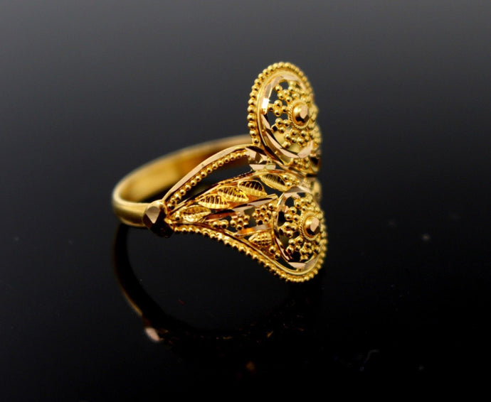 22k 22ct Solid Gold DIAMOND CUT ROUND LADIES RING SIZE 7.8' RESIZABLE