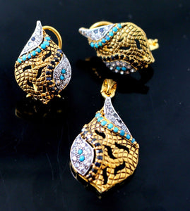 22k 22ct Solid Gold BEAUTIFUL DESIGNER FEROZA Stone OXYDIES Pendant Set p655 | Royal Dubai Jewellers