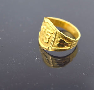 "22k 22ct Solid Gold ELEGANT SIKHI KHANDA ONKAR BABY KIDS Ring ""RESIZABLE"" mf"