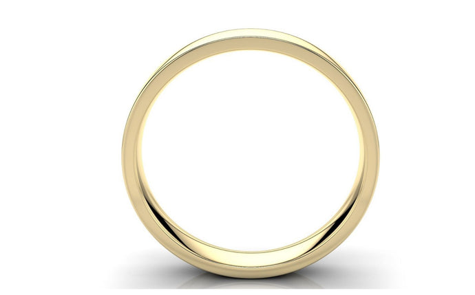 22k Solid Gold 4mm Comfort Fit Wedding Flat Band in 22k Yellow Gold