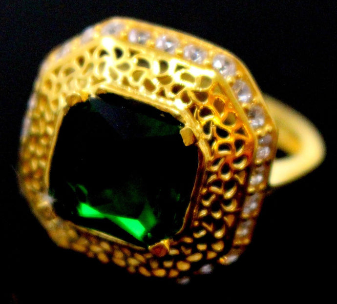 21k 21ct GOLD ELEGANT GREEN STONE DESIGNER LADIES RING SIZE 8.8 R1578