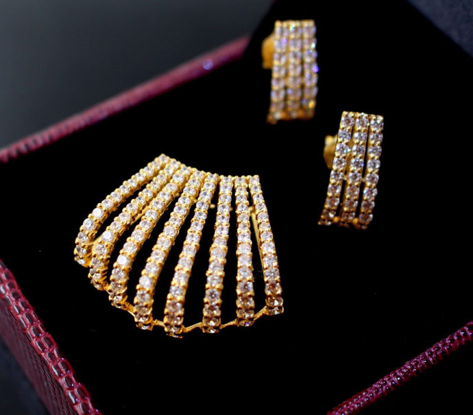 22k 22ct Solid Gold GORGEOUS ZIRCONIA DESIGNER FANCY Pendant Set p663 | Royal Dubai Jewellers