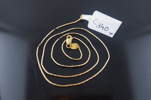 22k Jewelry Yellow Solid Gold Chain Necklace Elegant Modern Rope Design c340