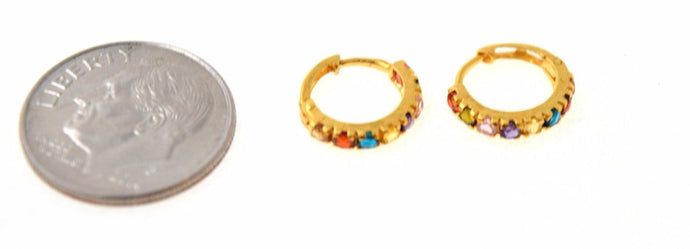 22k 22ct solid gold ELEGANT TINY MULTI COLOR HOOPS BALI EARRINGS with BOX E1344