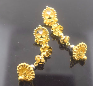22 Solid Gold ELEGANT LONG JHUMKE EARRINGS HANGINGS Classic Design E600