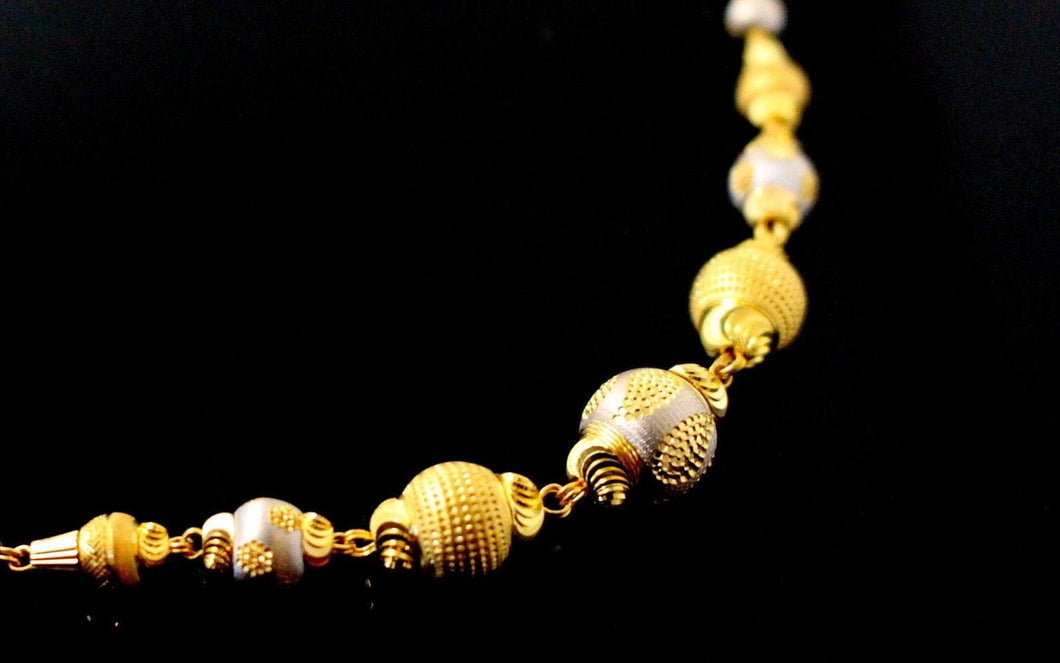 22k Yellow Solid Gold Chain Necklace Two Tone Ball Design Length 26 inch c825 | Royal Dubai Jewellers