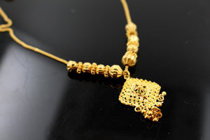 22k 22ct Solid Gold Simple Light Chain Set Antique Beads Design cs112 | Royal Dubai Jewellers