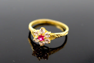 "22k Solid Gold ELEGANT RUBY FLOWER STYLE LADIES RING SIZE 6.5 ""RESIZABLE"" R1602"