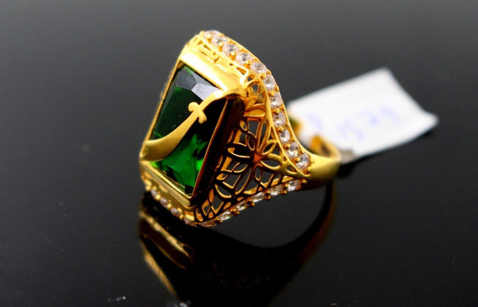 22k 22ct Solid Gold EMERALD Ring BAND Diamond cut with BOX