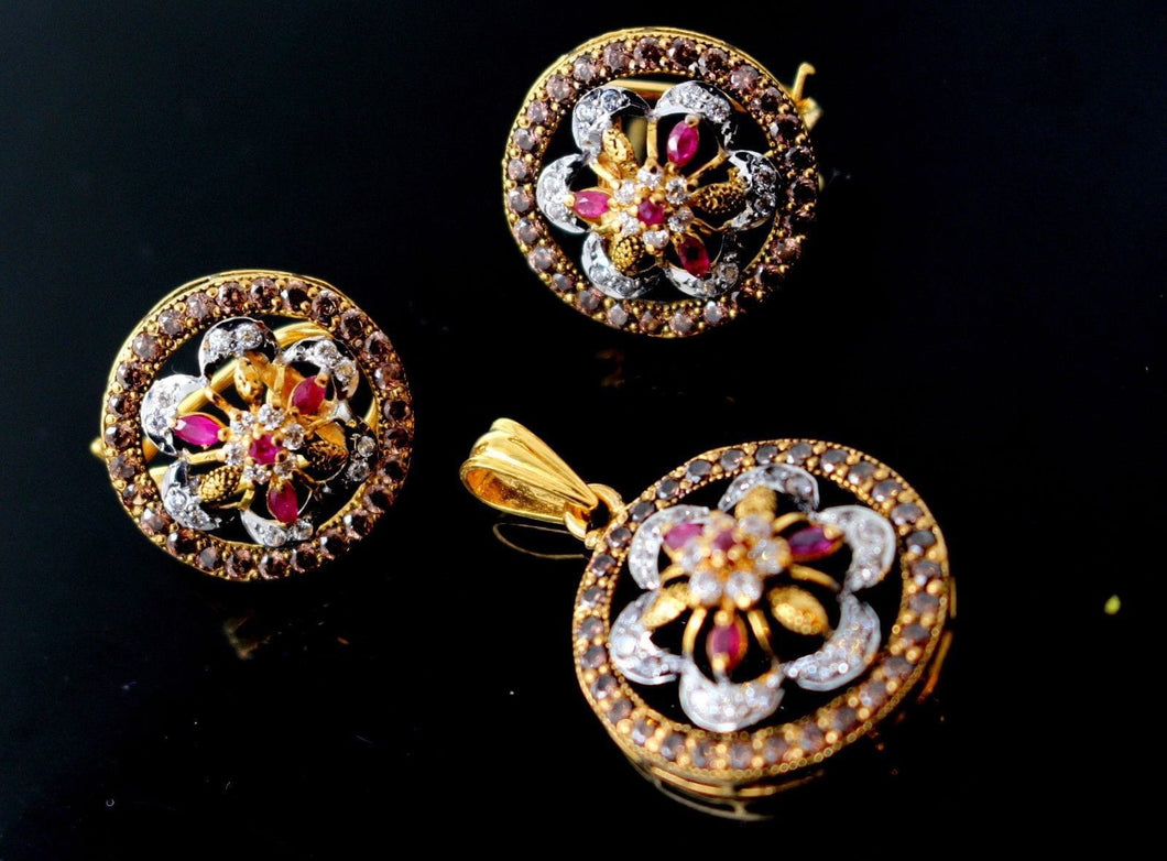 22k 22ct Solid Gold GORGEOUS DESIGN NATURAL RUBY Stone OXIDIZED Pendant Set p648 | Royal Dubai Jewellers