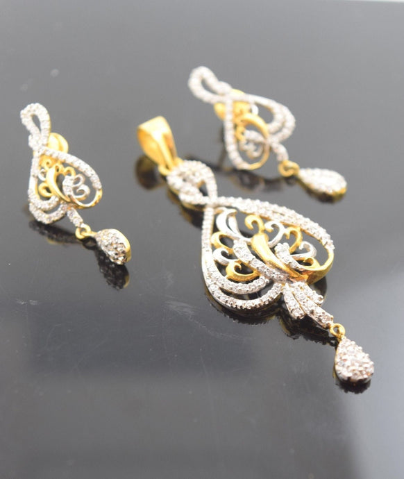 22k Solid Gold ELEGANT STONE Pendant Set EARRINGS Modern Design S24