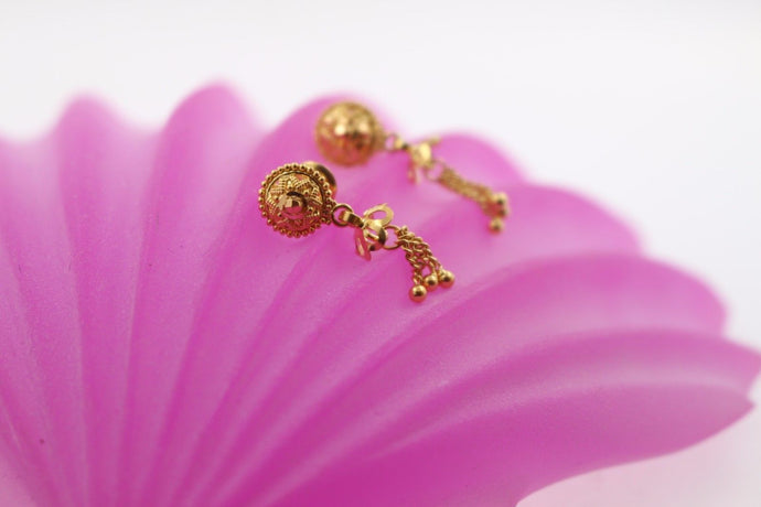 22k 22ct Solid Gold ELEGANT EARRINGS Floral Dangle Design E5106