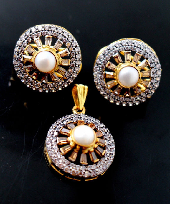 22k 22ct Solid Gold VICTORIAN NATURAL PEARL OXIDIZED STONE Pendant Set p650 | Royal Dubai Jewellers