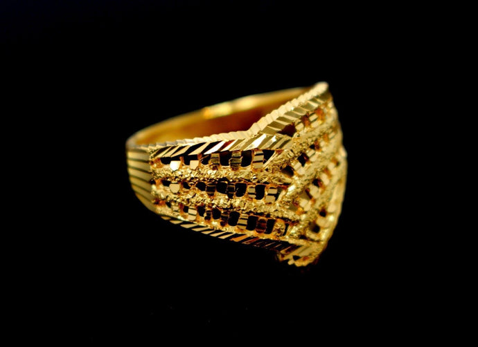 22k Solid Gold DESIGNER CROWN SHAPE LADIES GIRLS RING SIZE 6