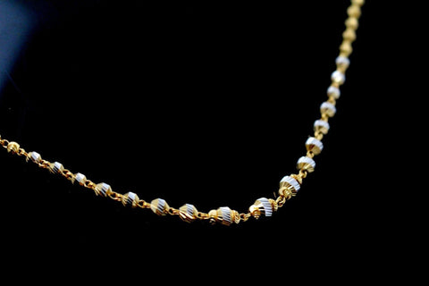 22k Yellow Solid Gold Chain Necklace Two Tone Ball Design Length 24 inch c829