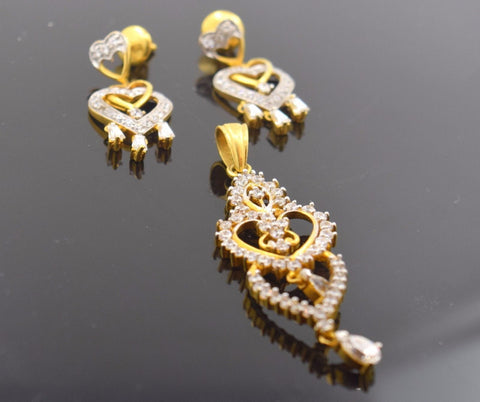 22k Solid Gold ELEGANT NATURAL STONE PENDANT SET EARRINGS S17