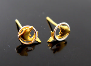 22k 22ct Solid Gold ELEGANT ROUND SHAPE Simple STUD EARRING Dolphin e5275