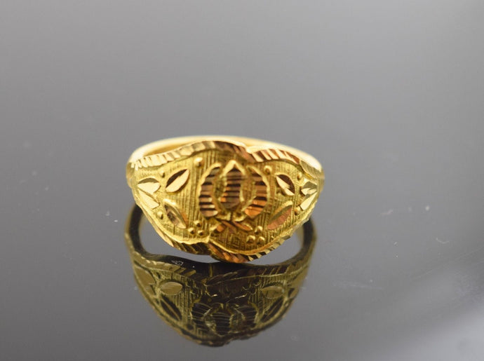 22k 22ct Solid Gold ELEGANT KHANDA MENS Ring BAND FREE18k BOX