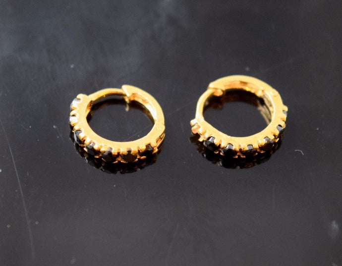 22k 22ct solid gold ELEGANT SMALL BLACK STONE HOOPS BALI EARRINGS with BOX E1342