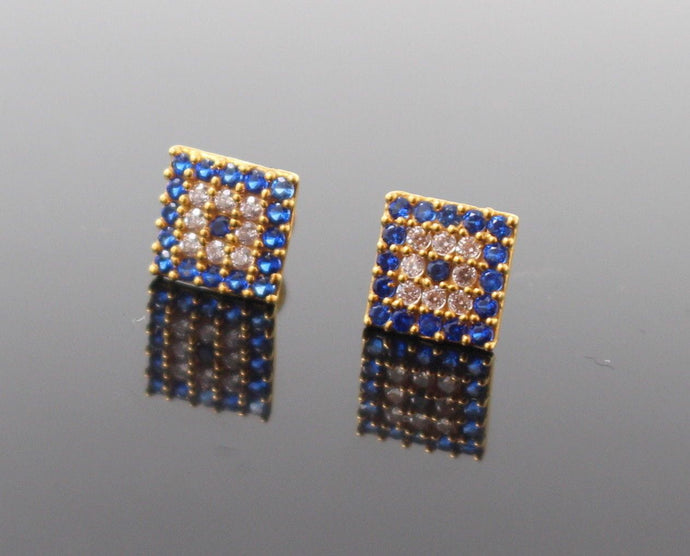 22k Jewelry Solid Gold ELEGANT Charm Sapphire Stone Earrings Square Shape e5133