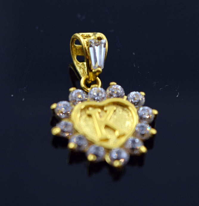 22k 22ct Solid Gold Heart Shape Pendent K letter pk2