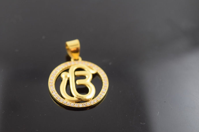 22k 22ct Solid Gold Sikh Religious pendant charm locket p354 onkar free box