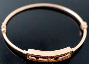 21k 21ct Solid Gold ELEGANT Ladies Rose Designer BANGLE Modern Design b858
