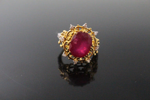 "22k 22ct Solid Gold ELEGANT Antique Ladies Stone Ring SIZE 6.0 ""RESIZABLE"" r1550"