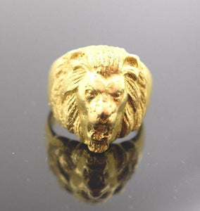 "22k Solid Gold ELEGANT LION FACE MENS Ring ""RESIZABLE"" R298"
