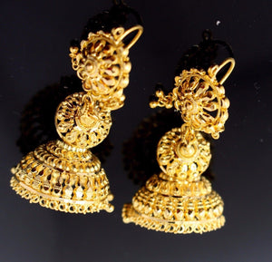 22k 22ct Jewelry Solid Gold ELEGANT LONG HOOK JHUMKE DANGLING Earring e5103