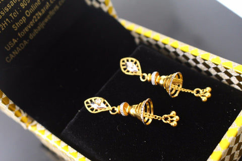 22k 22ct Solid Gold ELEGANT EARRINGS Floral Dangle Design E5068
