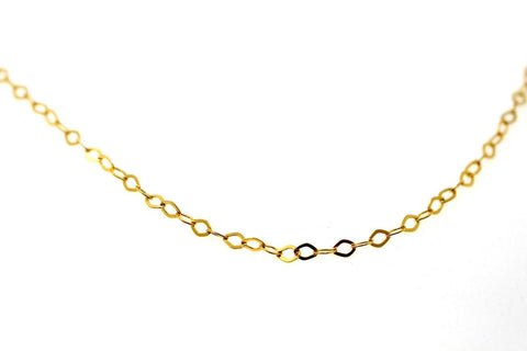 22k 22ct Yellow Solid Gold Curb Chain Light Flat Oval Design 22in c887a | Royal Dubai Jewellers