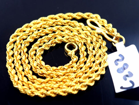 "22k Jewelry Yellow Gold Rope Chain hollow Modern Design Necklace 18"" mf"